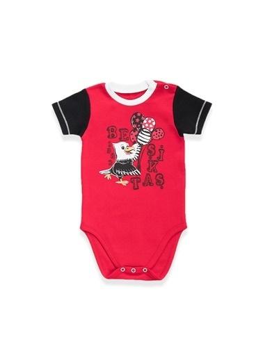 Beşiktaş Beşiktaş Lisanslı Siyah Bebek Body Kırmızı